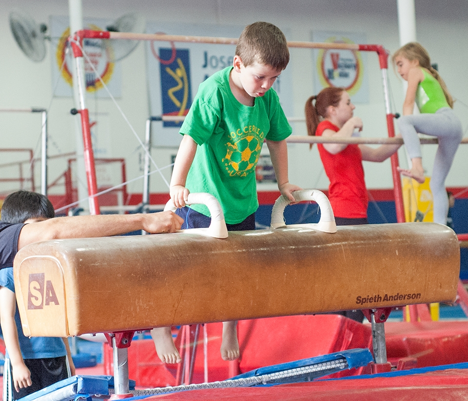 Boy on pommel horse